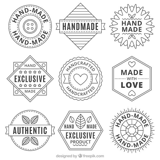 Coleção de logotipos handmade do vintage Vetor grátis