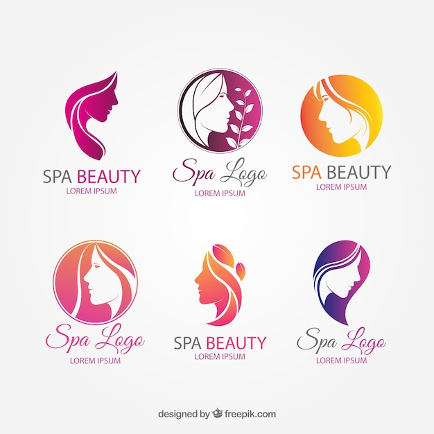Coleção de logotipos legal para spa Vetor grátis