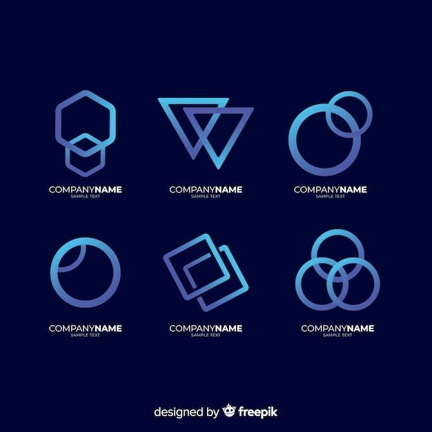 Coleção de logotipos tecnológicos geométricos de gradiente Vetor grátis