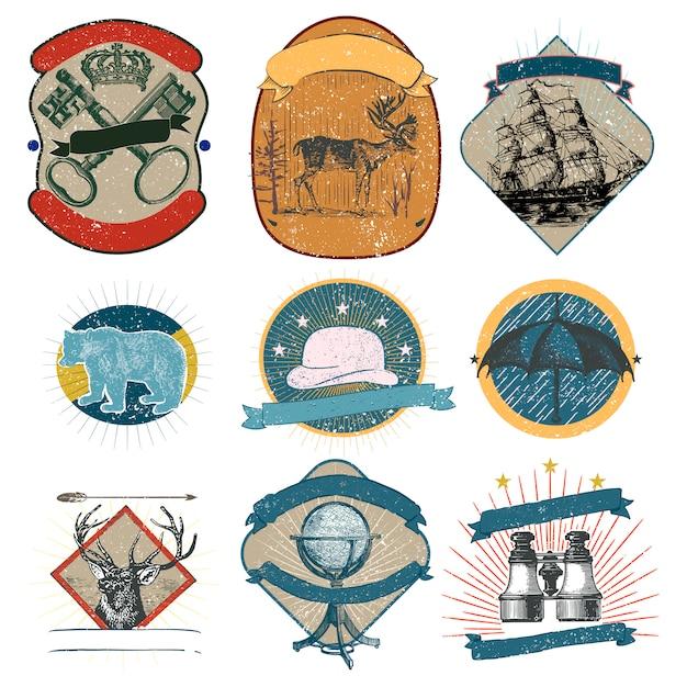 Coleção de logotipos vintage Vetor grátis