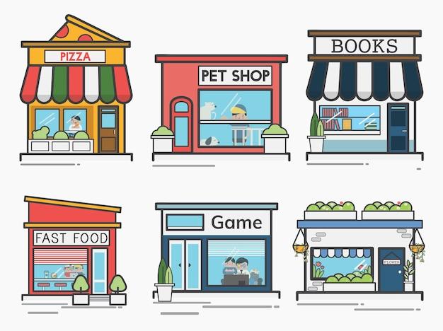 Coleção de lojas e lojas Vetor grátis