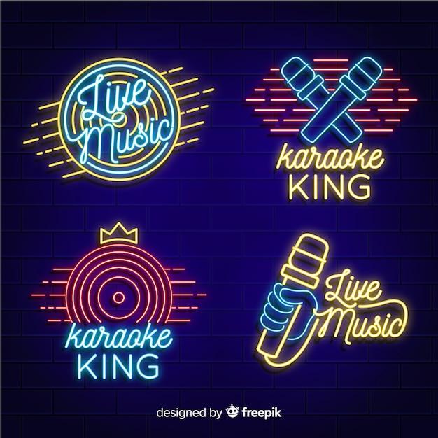 Coleção de luz de néon com conceito de karaoke Vetor grátis