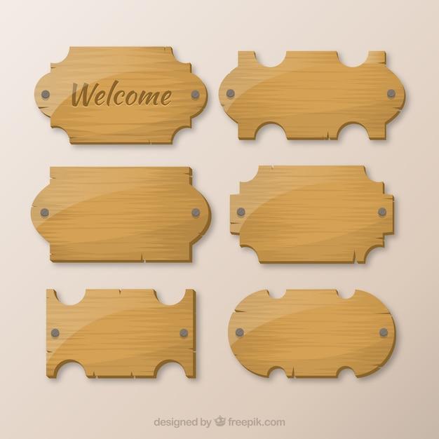 Coleção de madeira das tabuletas Vetor grátis
