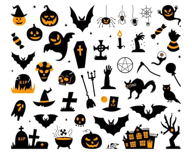 Coleção de magia de halloween feliz, atributos de assistente, elementos assustadores e assustadores para decorações de halloween, silhuetas de doodle, esboço, ícone, adesivo. ilustração de mão desenhada. Vetor Premium