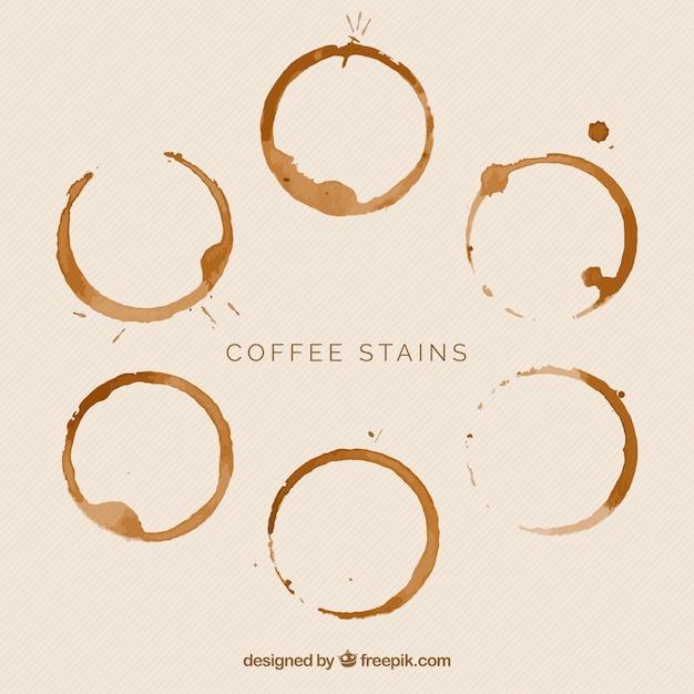 Coleção de manchas de café realista Vetor grátis