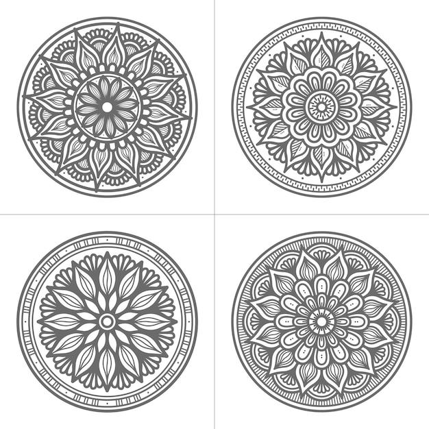 Coleção de mandala desenhada à mão estilo círculo Vetor Premium