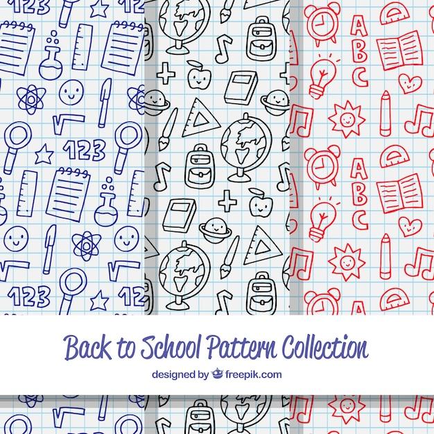 Coleção de mão atraído de volta para padrões de escola Vetor grátis