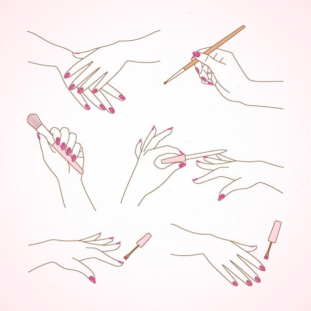 Coleção de mão de manicure Vetor grátis