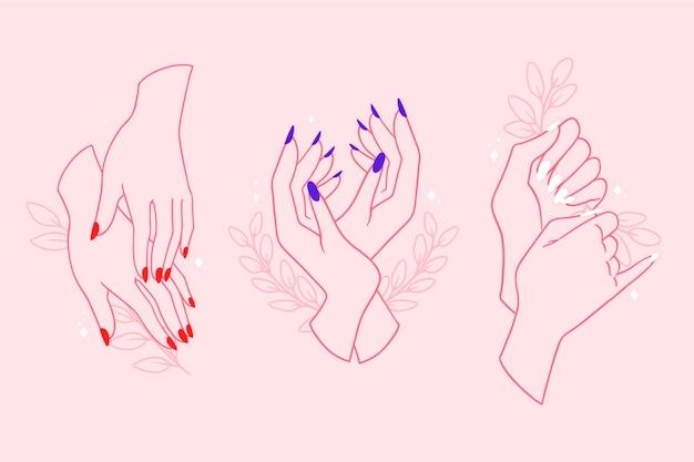 Coleção de mão de manicure Vetor Premium