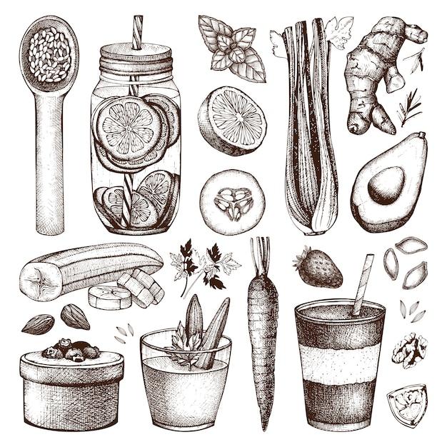 Coleção de mão de tinta desenhada esboços de alimentos e bebidas saudáveis. ilustração de dieta de verão vintage. coleção de elementos de programa de desintoxicação Vetor Premium