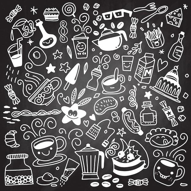 Coleção de mão desenhada contorno estilo buffet pequeno-almoço, isolat Vetor Premium