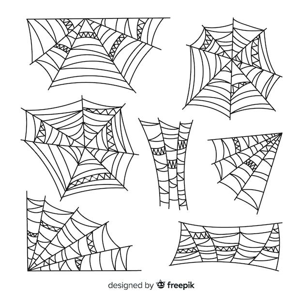 Coleção de mão desenhada teia de aranha Vetor grátis