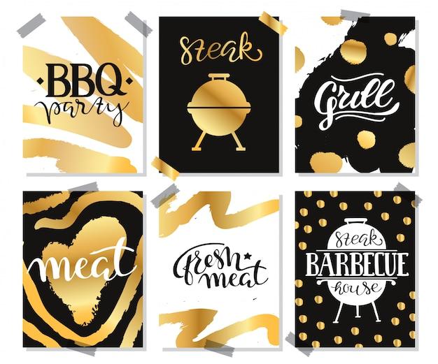 Coleção de mão desenhada texto de comida grelhada, salsichas, frango, batatas fritas, bifes, peixe Vetor grátis