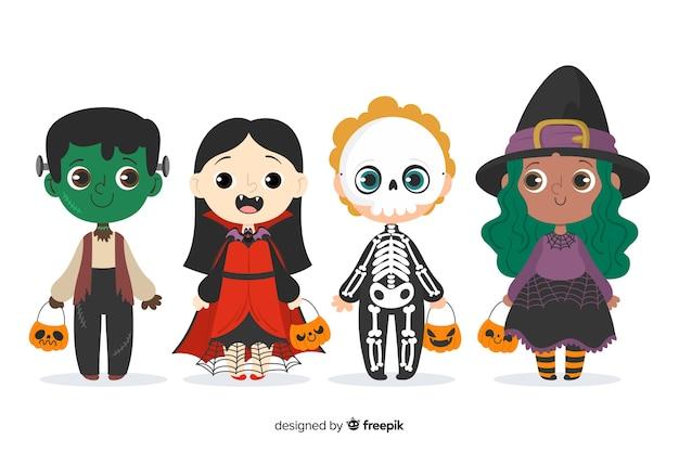Coleção de mão desenhada trajes de criança de halloween Vetor grátis