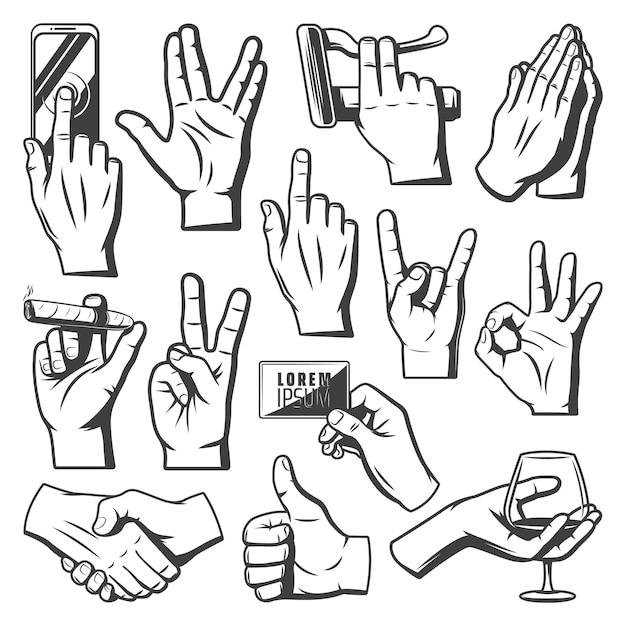 Coleção de mãos vintage com saudação saudação orando para indicar ok cabra aperto de mão móvel toque cigaro copo de vinho segurar gestos isolados Vetor grátis