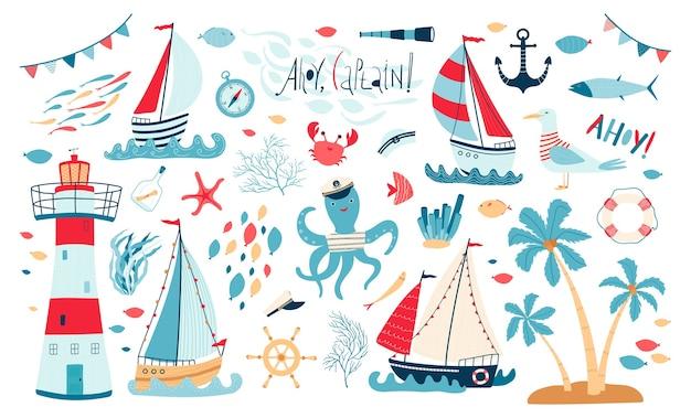 Coleção de mar bonito com veleiro, farol, peixe, polvo, gaivota, caranguejo, isolado no fundo branco. Vetor Premium