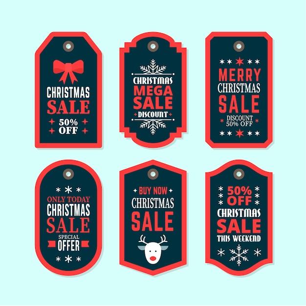 Coleção de marca de venda de natal em design plano Vetor grátis