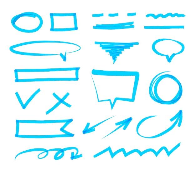 Coleção de marcador desenhado de mão abstrata. conjunto de vetores de marcas de realce azuis, traços, listras e setas. elementos de design do marcador em destaque. isolado. Vetor Premium
