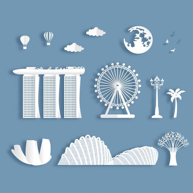 Coleção de marcos famosos de singapura Vetor Premium