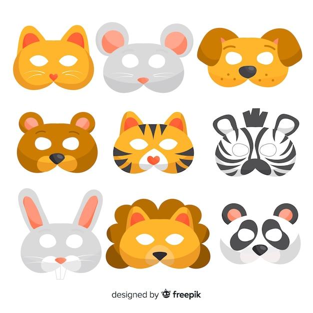 Coleção de máscara de carnaval animal Vetor grátis