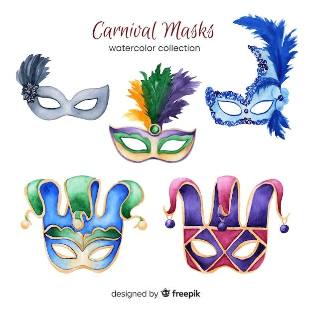 Coleção de máscara de carnaval Vetor grátis