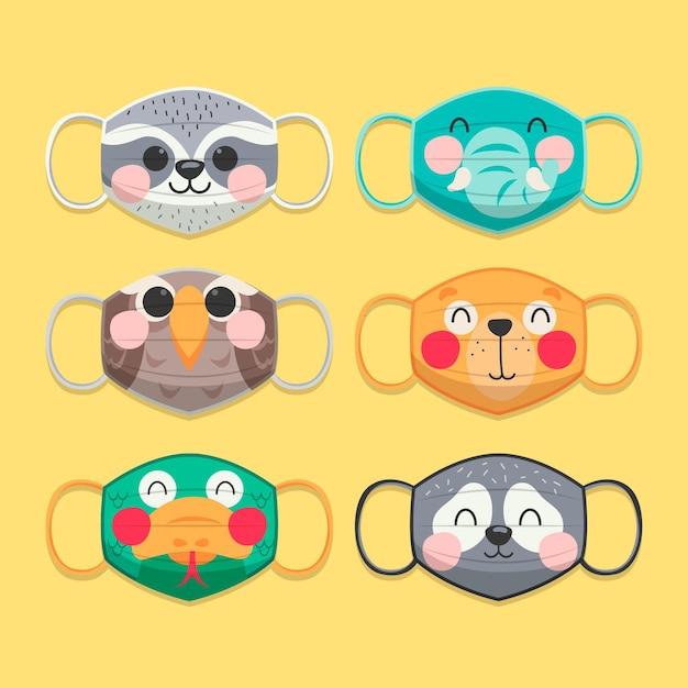 Coleção de máscara de rosto animal Vetor Premium