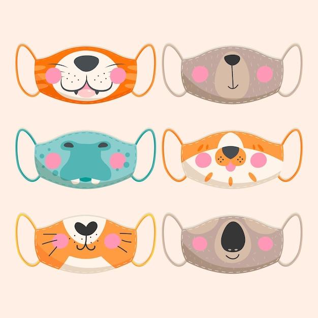 Coleção de máscara de rosto animal Vetor grátis