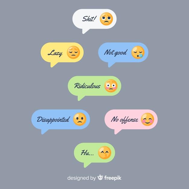 Coleção de mensagens com diferentes emojis Vetor grátis