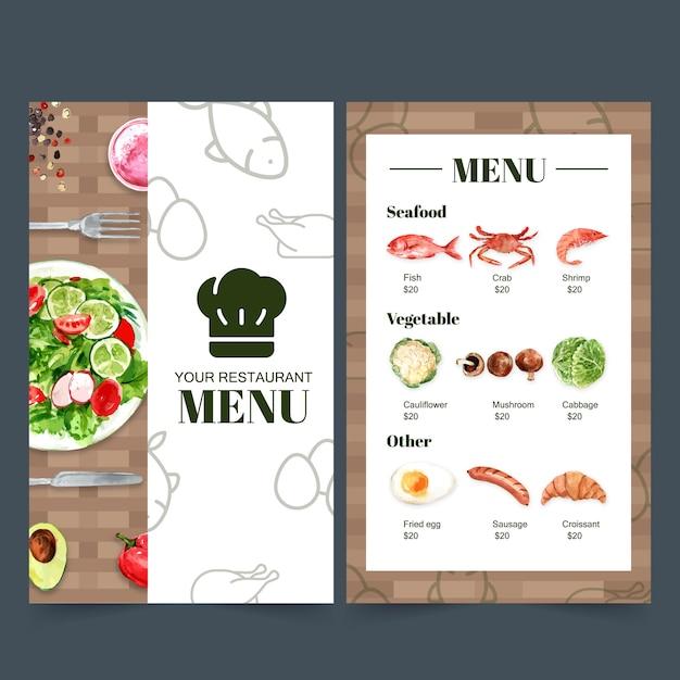 Coleção de menu de comida dia mundial para restaurante. com ilustrações em aquarela de comida. Vetor grátis