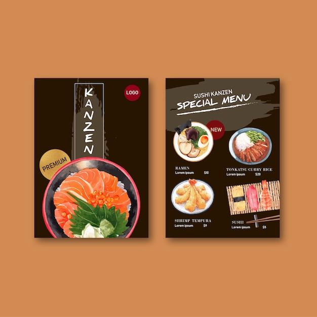 Coleção de menu de sushi para restaurante. modelo com ilustrações em aquarela de comida. Vetor grátis