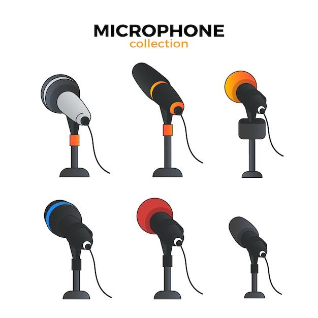 Coleção de microfone plano Vetor grátis