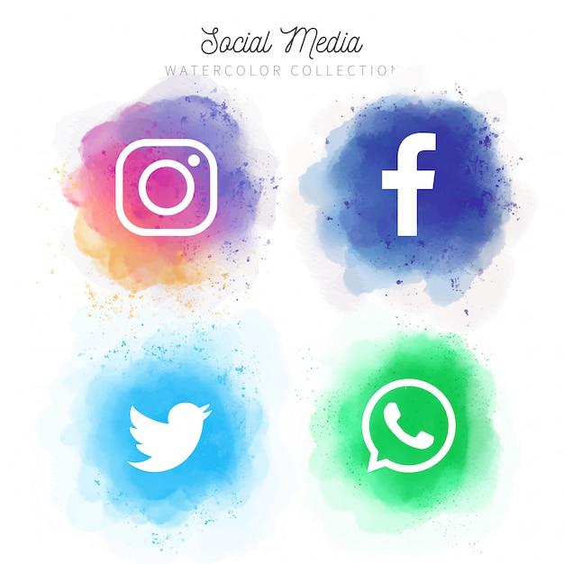 Coleção de mídias sociais em aquarela Vetor grátis