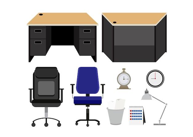 Coleção de mobiliário de escritório isolado no fundo branco Vetor grátis