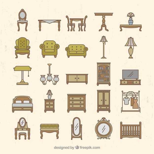 Cole o de mobili rio vintage baixar vetores gr tis for Vintage muebles y objetos