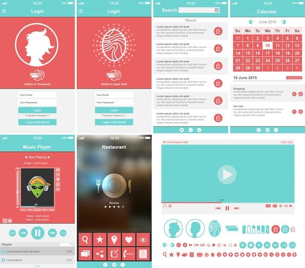 Coleção de modelo de aplicativo móvel Vetor grátis
