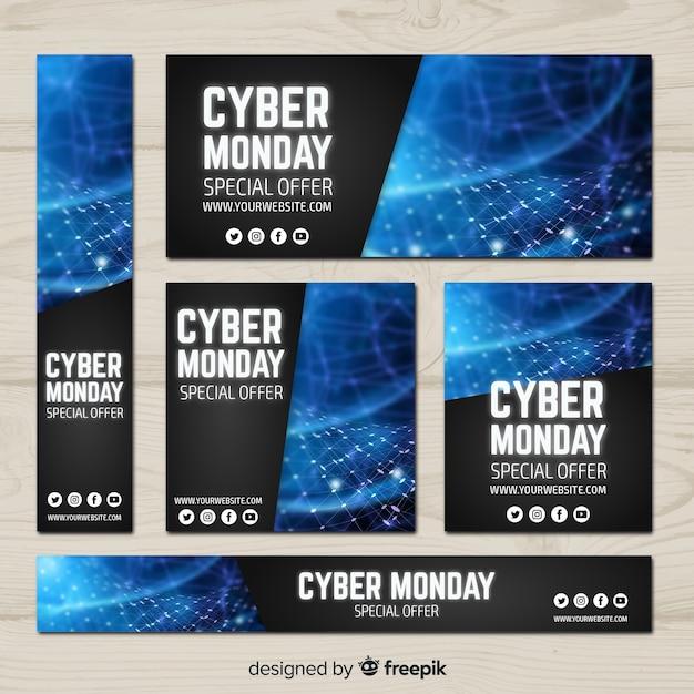 Coleção de modelo de banner cyber segunda-feira Vetor grátis