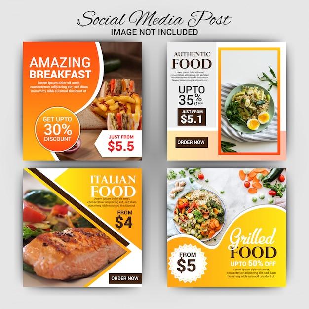 Coleção de modelo de cartão com o conceito de comida Vetor Premium