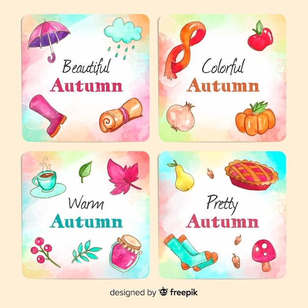 Coleção de modelo de cartão de outono em aquarela Vetor grátis