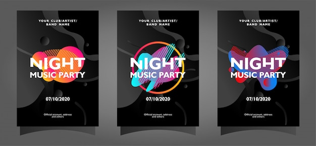 Coleção de modelo de cartaz de festa de música à noite com formas abstratas Vetor Premium