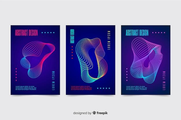 Coleção de modelo de cartazes de música de ondas abstratas coloridas Vetor grátis
