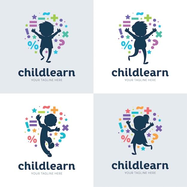 Coleção de modelo de design de conjunto de aprendizagem de crianças Vetor Premium