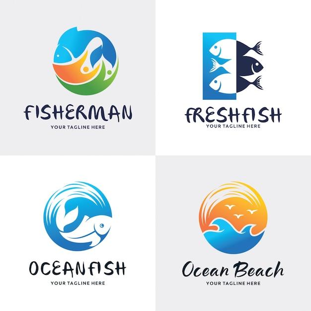 Coleção de modelo de design de conjunto de logotipo de peixe Vetor Premium