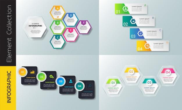 Coleção de modelo de design de infográfico Vetor Premium