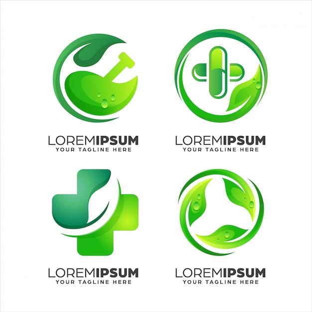 Coleção de modelo de design de logotipo abstrato verde natureza saúde gradiente Vetor Premium