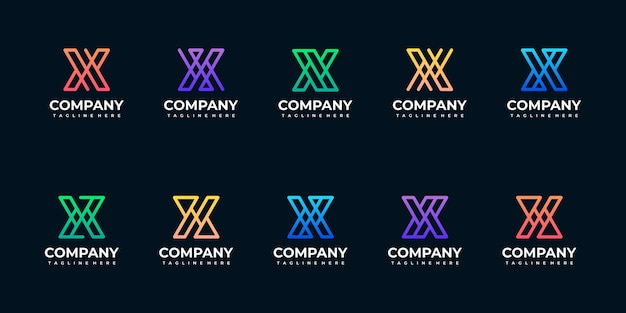 Coleção de modelo de design de logotipo de monograma de letra inicial Vetor Premium