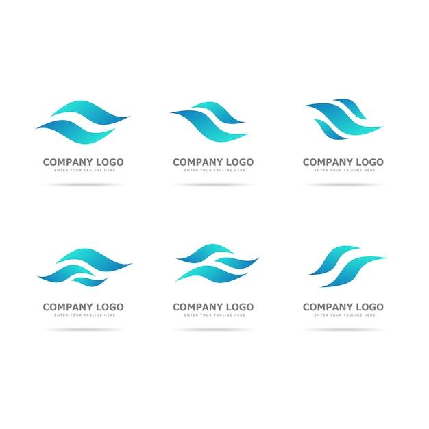 Coleção de modelo de design de logotipo de onda Vetor Premium