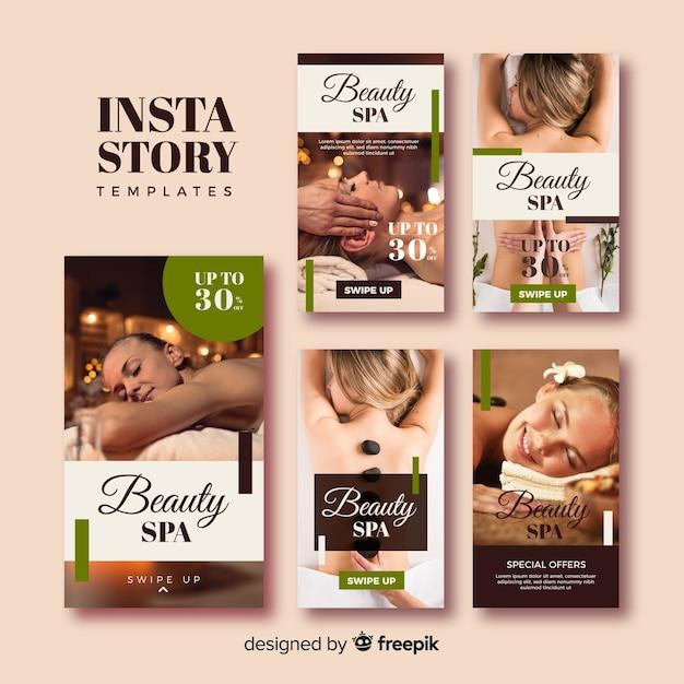 Coleção de modelo de histórias de instagram spa Vetor grátis