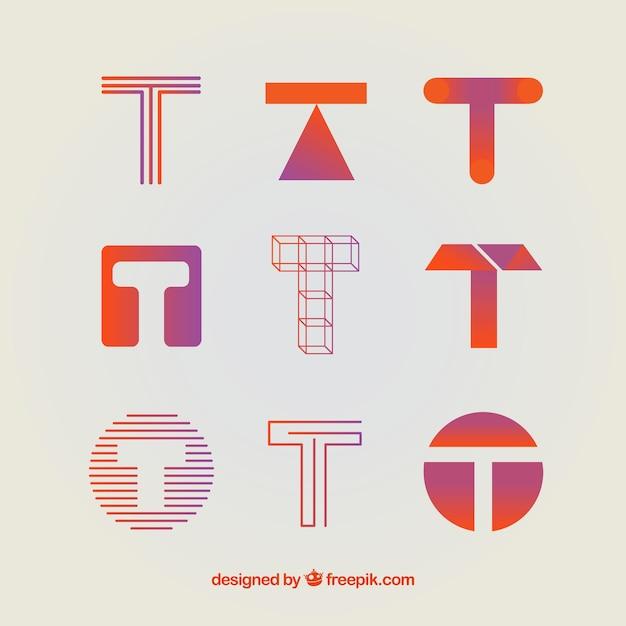 Coleção de modelo de logotipo da letra t Vetor grátis