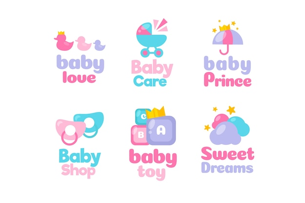 Coleção de modelo de logotipo de elementos de bebê Vetor grátis