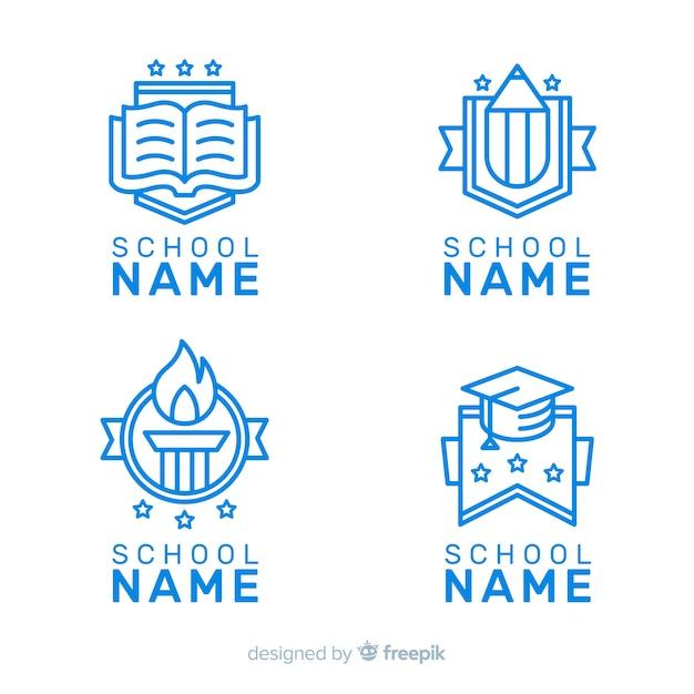Coleção de modelo de logotipo de escola plana Vetor grátis